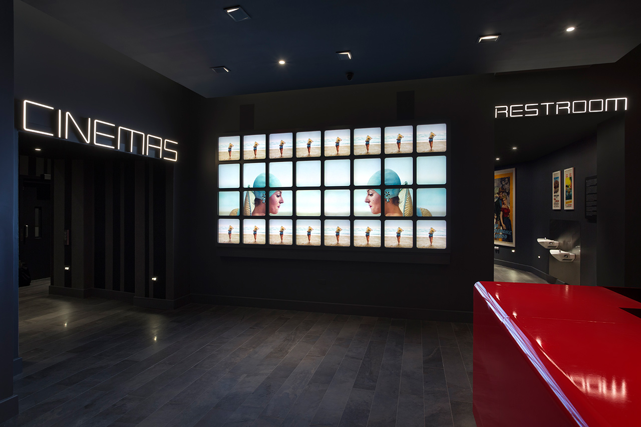 Logo, custom typography, signage, environmental graphics and digital installations by Pentagram for New York's Quad Cinema
