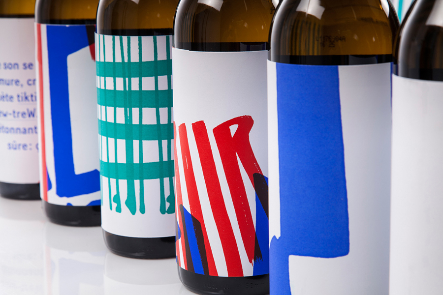 Visual identity and wine labels designed by Marks for material and print finish exhibition Rendez-vous des créateurs 2014