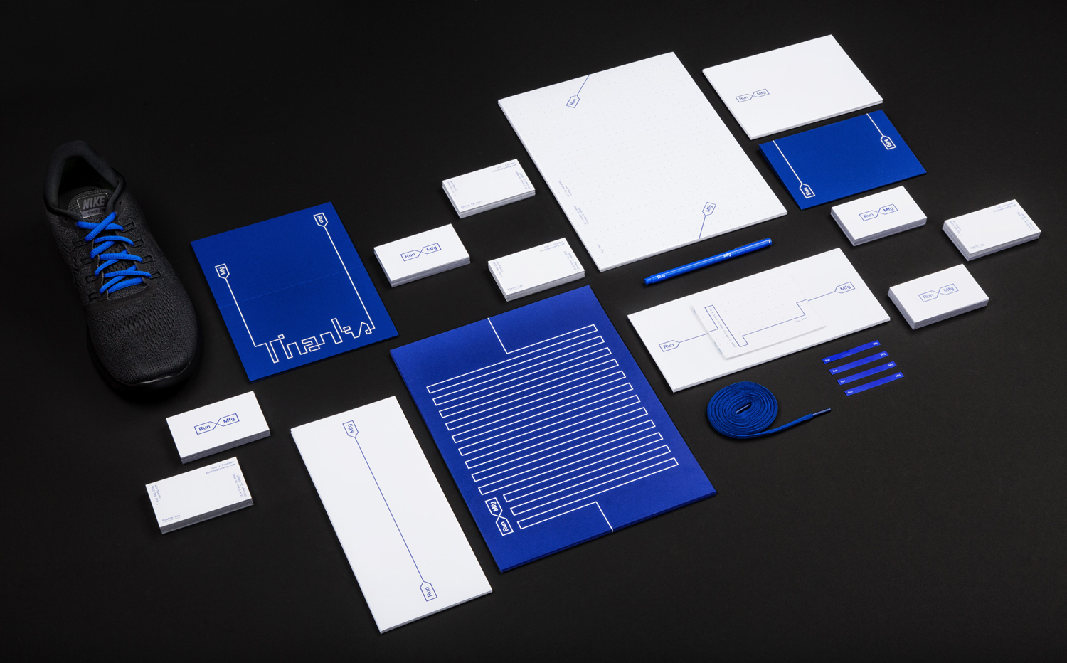 Brand identity, print and stationery by Perky Bros for Chicago-based independent race design and production company Run Mfg