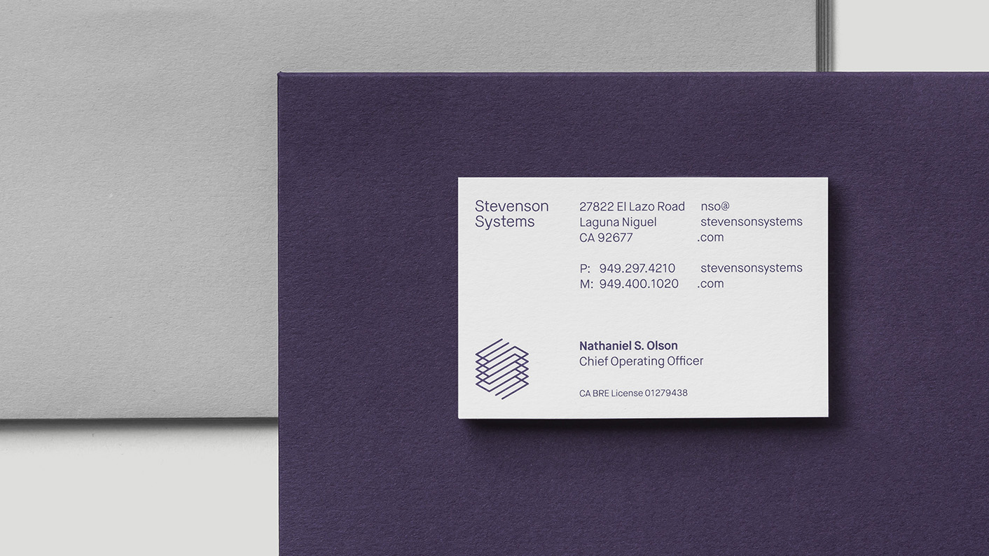 Business cards for Stevenson Systems by Socio Design, United Kingdom
