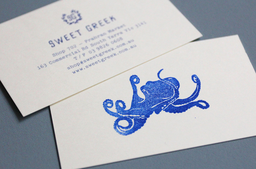 Logo, business card and illustrative detail for Melbourne food store Sweet Greek designed by Studio Bravo and Elise Lampe