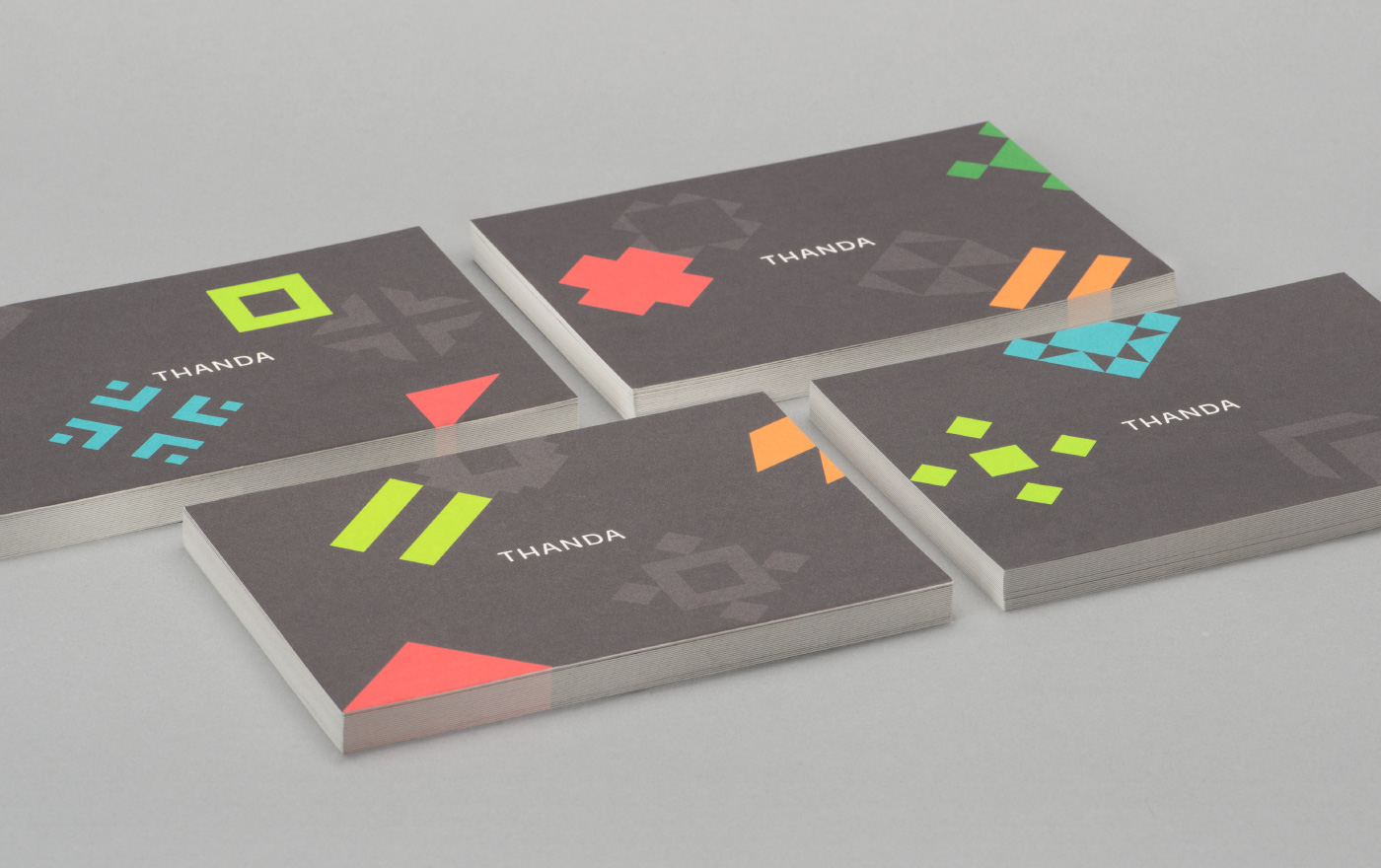 Brand identity and postcards by UK graphic design studio Karoshi for conscientious interior accessory business Thanda