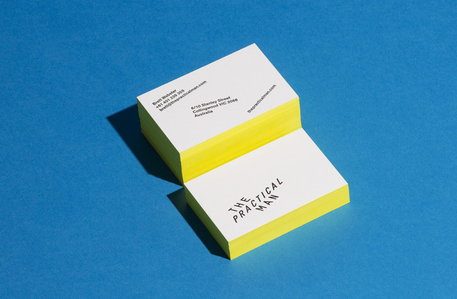 Letterpress business card with painted edges for The Practical Man designed by Garbett