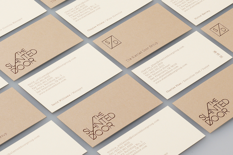 Logo and business card with copper foil print finish for Vietnamese restaurant The Slanted Door designed by Manual