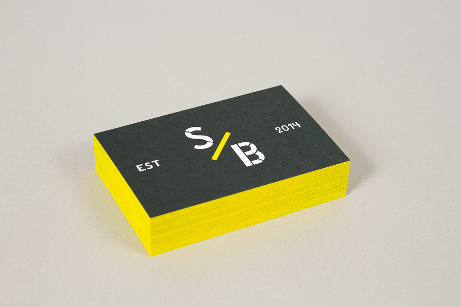 Edge painted business card design by Build for East London estate agent The Stow Brothers