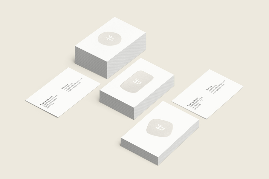 Logo and embossed business card for San Francisco based homeware business Tina Frey Designs by graphic design studio Mucho