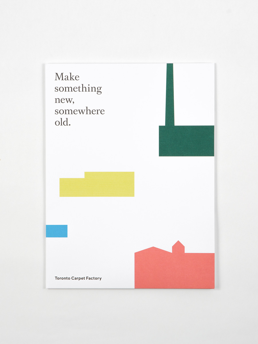 Brand identity and brochure cover for Toronto Carpet Factory by graphic design studio Bruce Mau Design