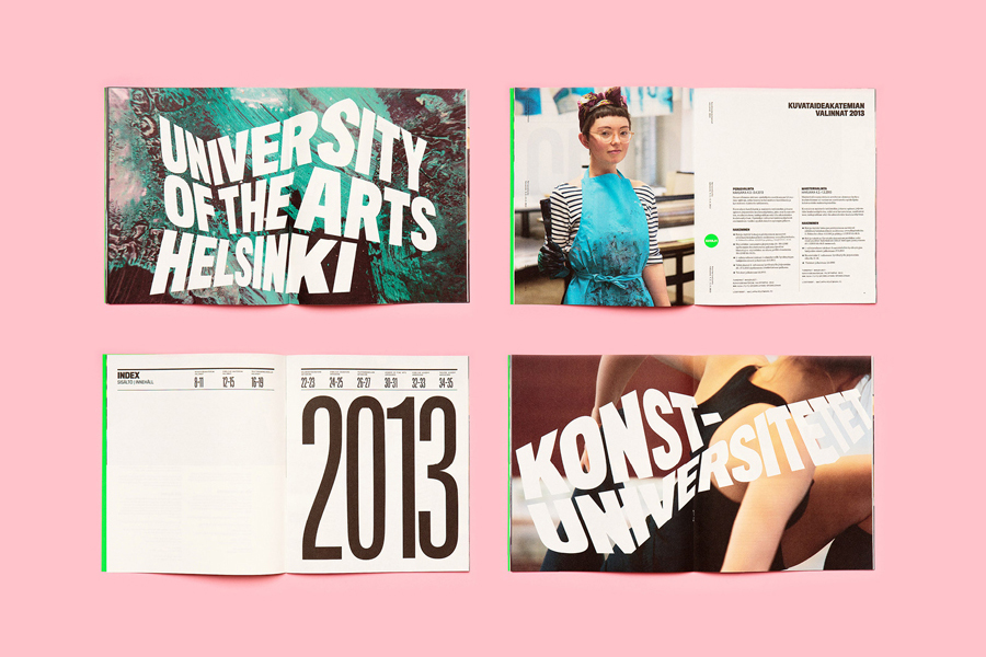 Logotype and print for University of the Arts Helsinki by Bond designed in Helsinki, Finland
