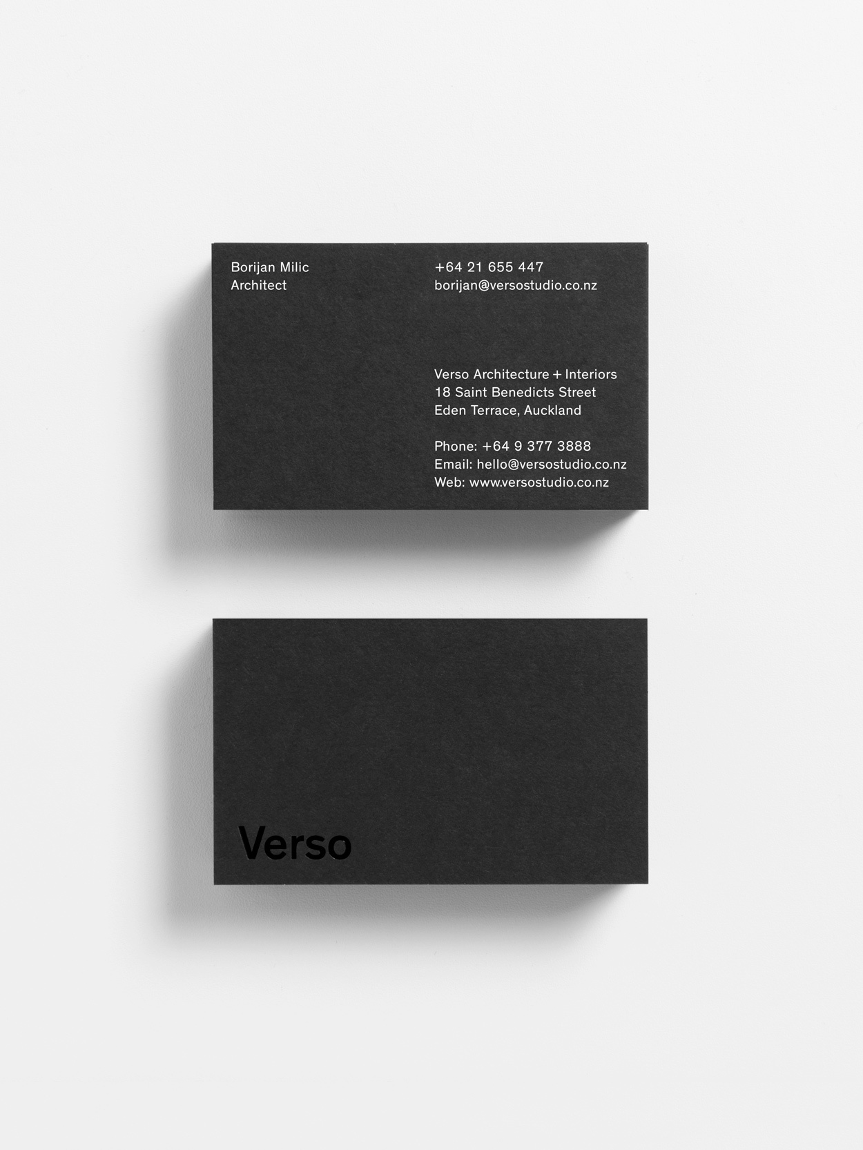 Branding and business cards with black board and white foil detail by Studio South for Auckland-based architecture and interior business Verso