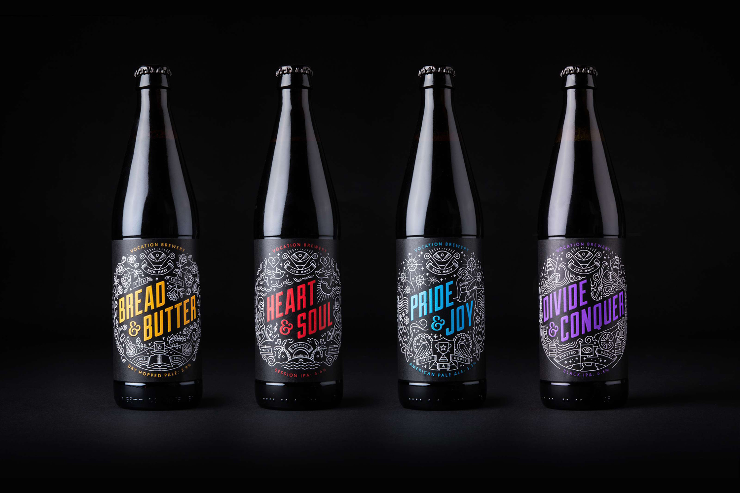 Illustrated package design by Robot Food for British craft beer microbrewery Vocation.