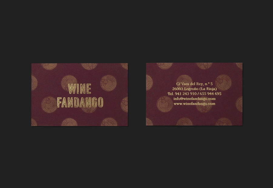 Gold block foiled business cards for restaurant Wine Fandango designed by Moruba