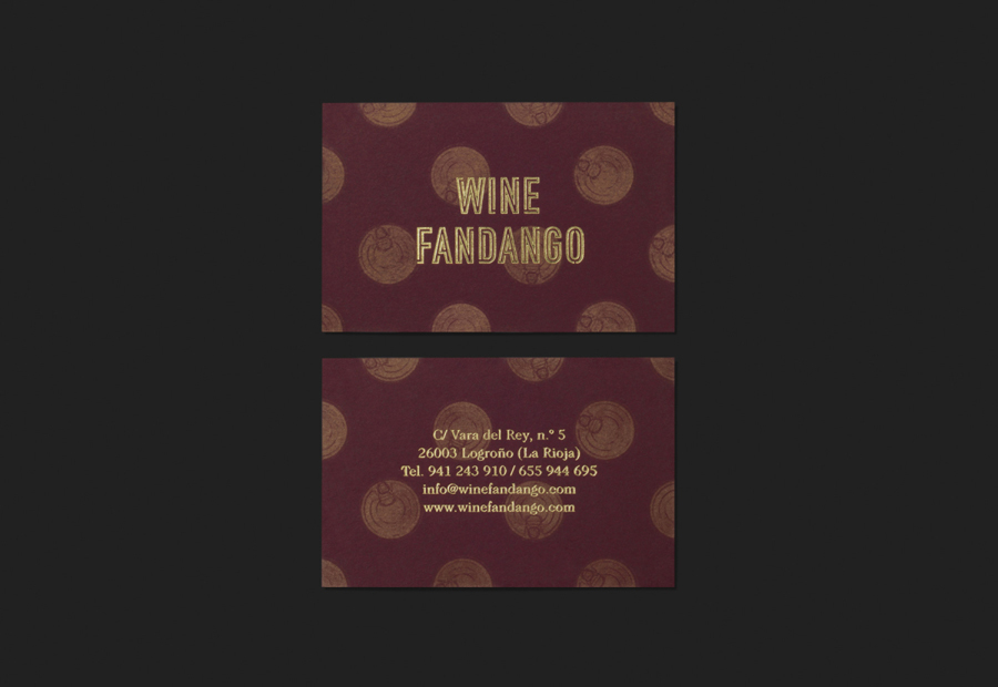 Gold foiled business cards by Moruba for Wine Fandango