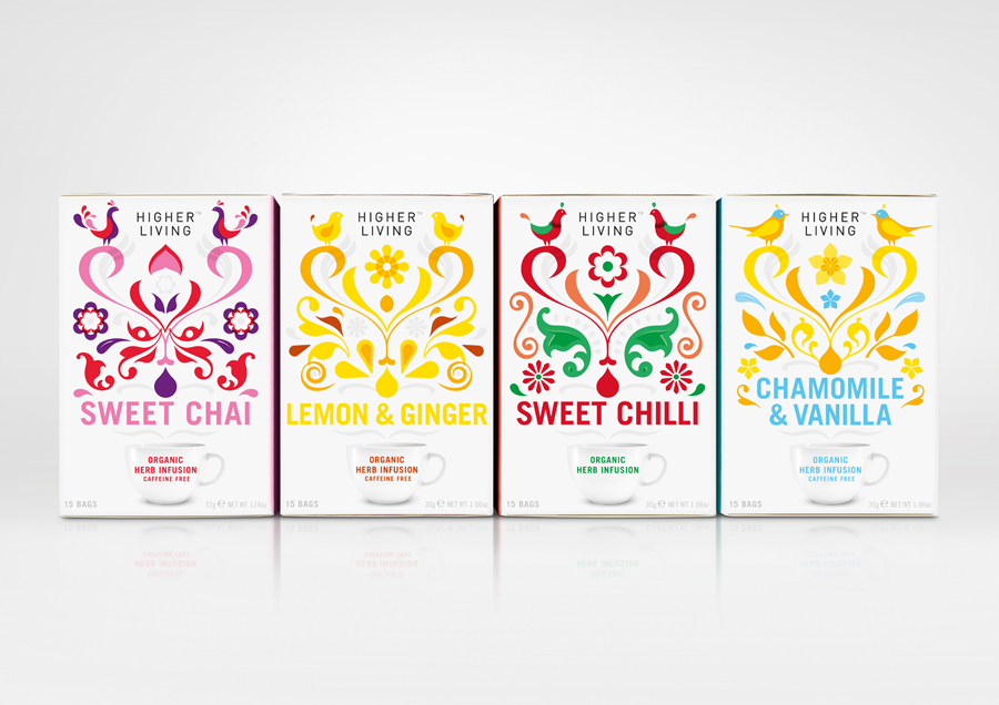 Tea packaging with illustrative detail designed by B&B Studio for UK herbal tea company brand Higher Living
