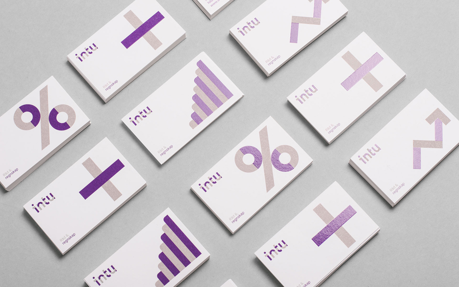 Business card design with UV varnish detail for accounting and consultation firm Intu by Heydays