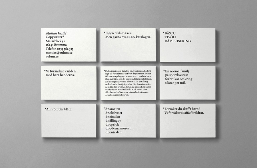Logotype and business cards for Matthias Jersild by BVD designed in Stock­holm, Swe­den