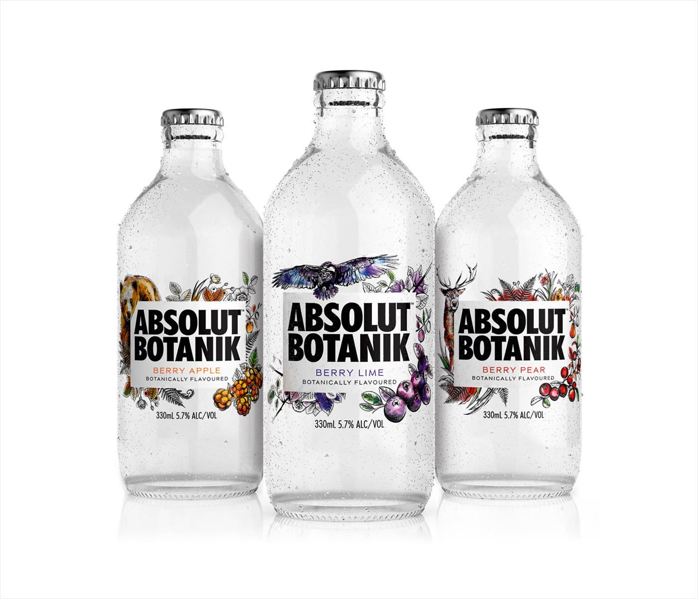 Packaging for Absolut Botanik by graphic design studio Bold Inc.