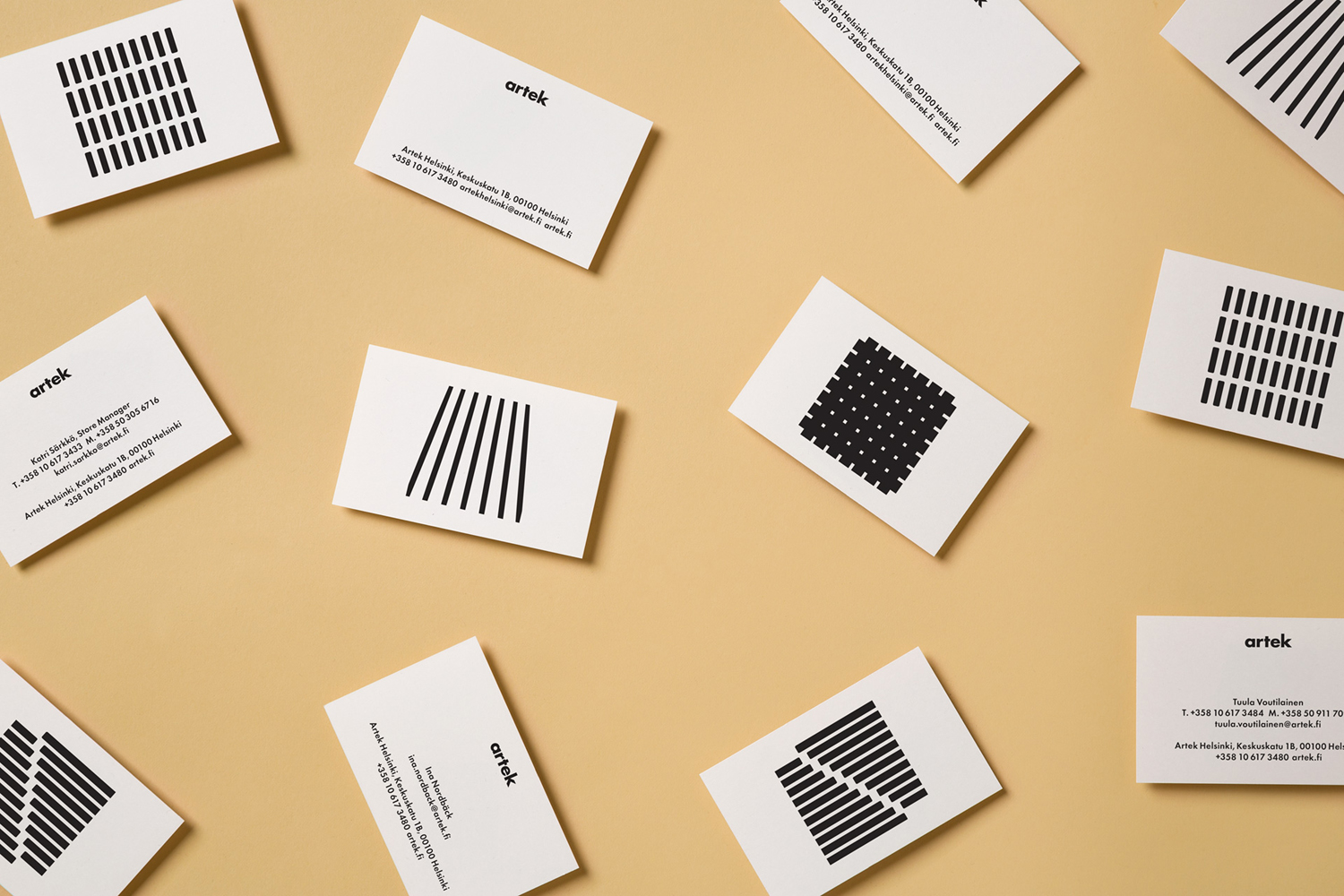 Brand identity and business cards by graphic design studio Tsto for furniture and homeware store Artek Helsinki.