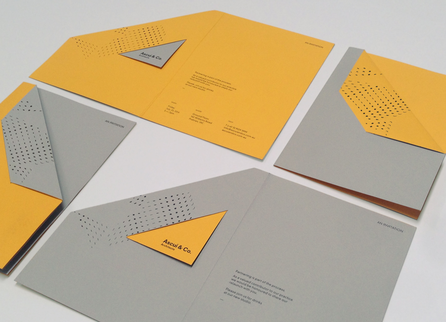 Invitations with block foil, die cut and folded detail by Grosz Co. Lab for architectural practice Ascui & Co.