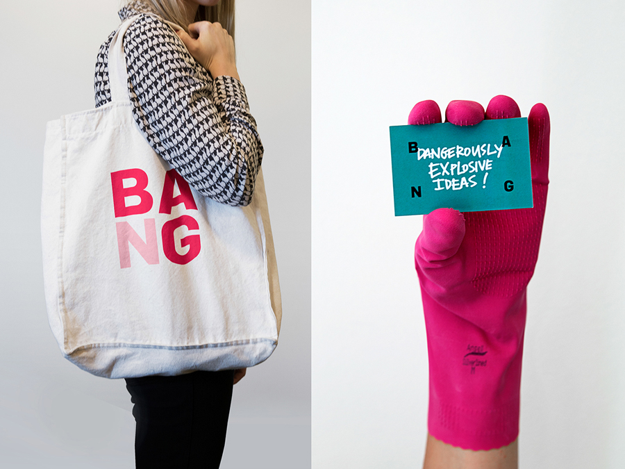 Logo, business card and tote bag designed by RE: for Sydney based public relations business Bang