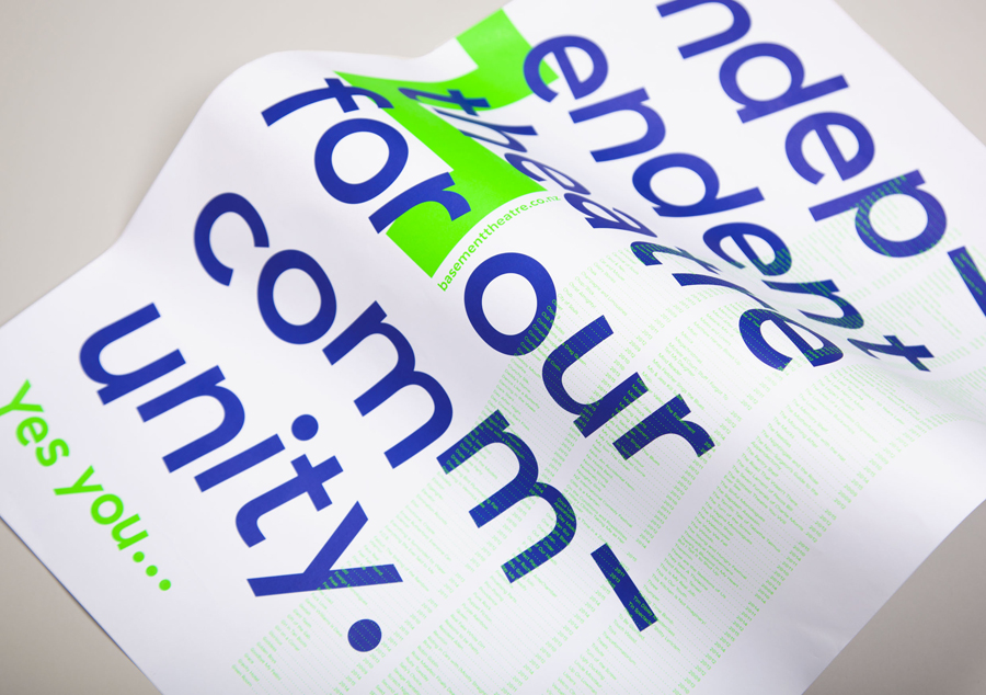 Poster with fluorescent ink for Basement Theatre by graphic design agency Studio Alexander
