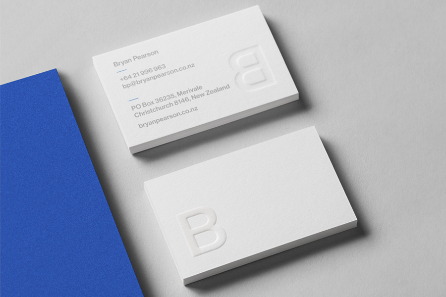 Blind embossed and UV varnished business cards for consultant Bryan Pearson by Strategy