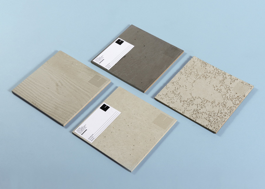 Logo and sample stickers designed by S-T for cement veneer product Cemento featured on BP&O