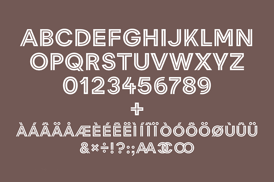 Custom, inline, uppercase typography for Clay designed by Designbolaget