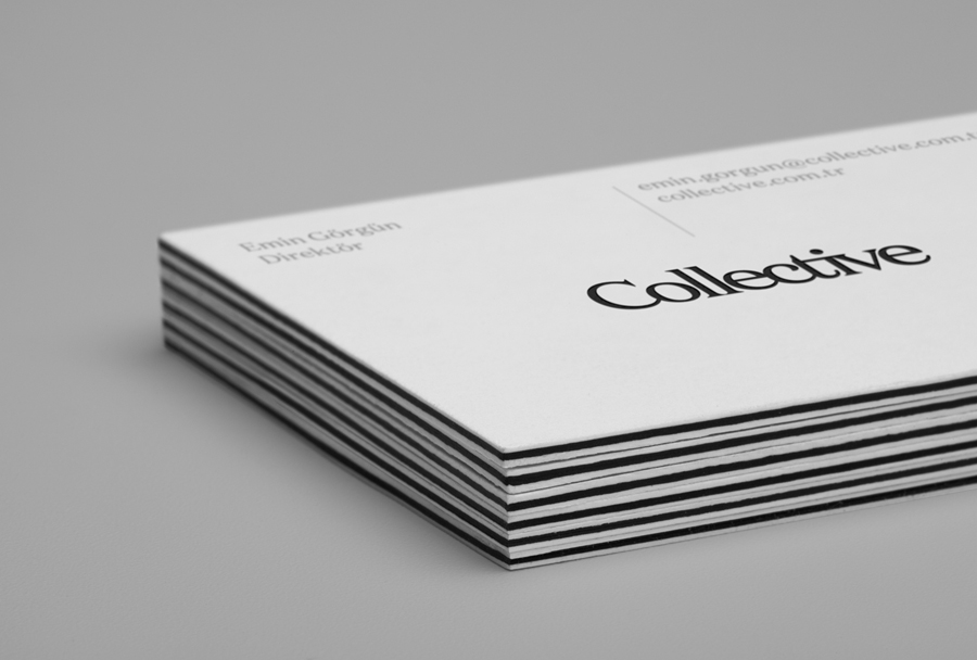 Triplex business cards for Collective designed by Hey