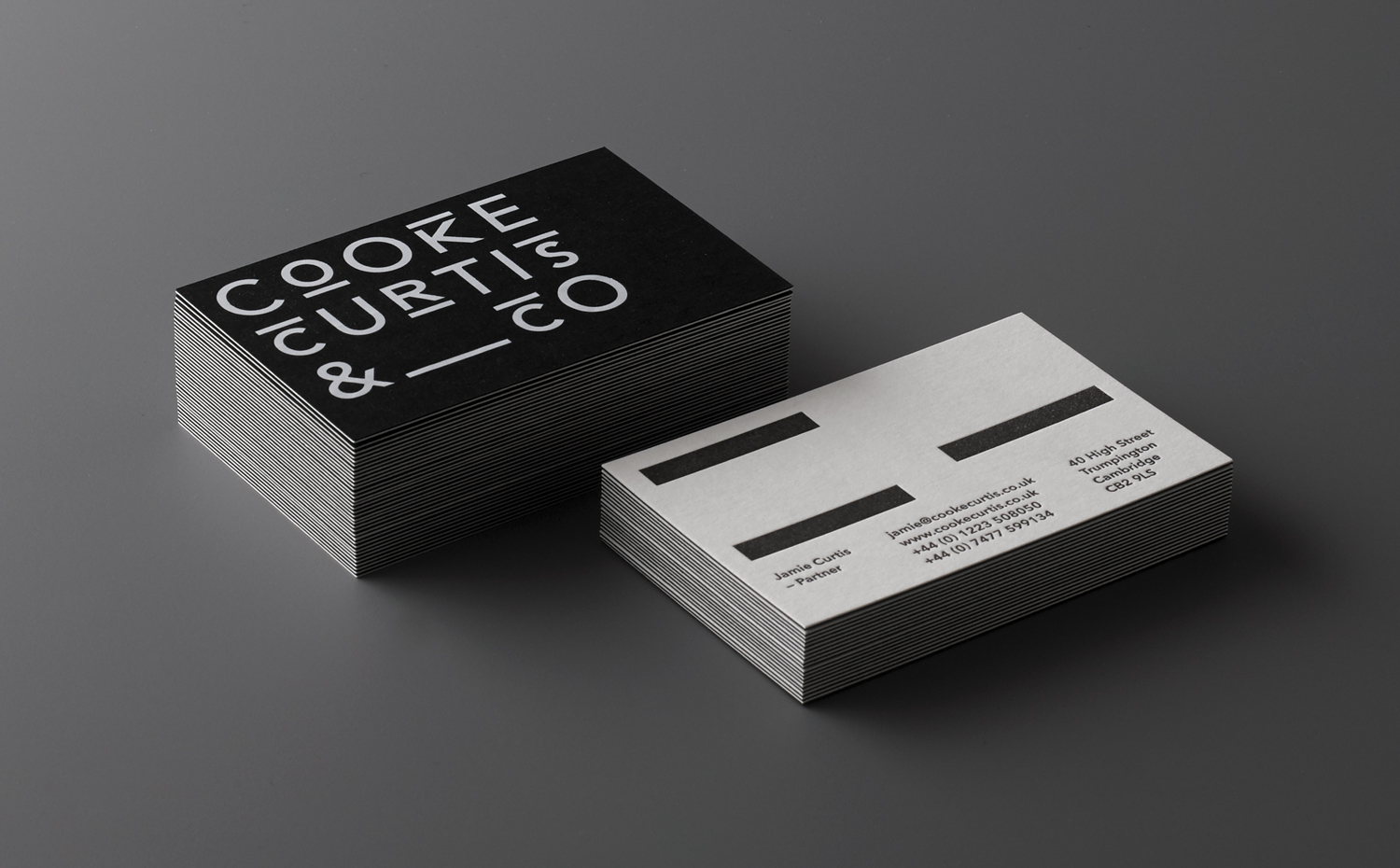 Duplex letterpress business cards for Cooke Curtis & Co. designed by The District