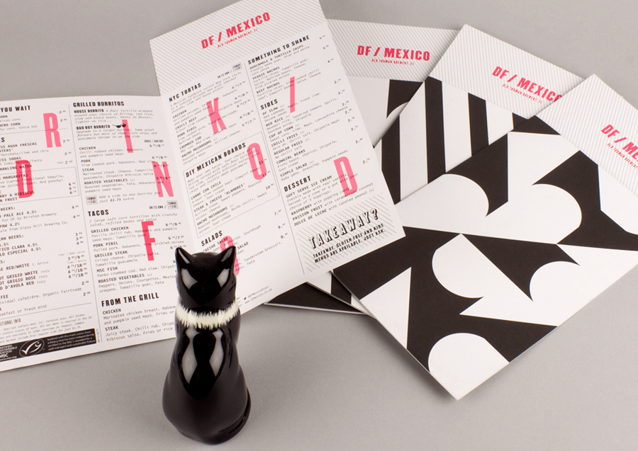 Menu for American and Mexican inspired London diner D / F Mexico designed by BuroCreative