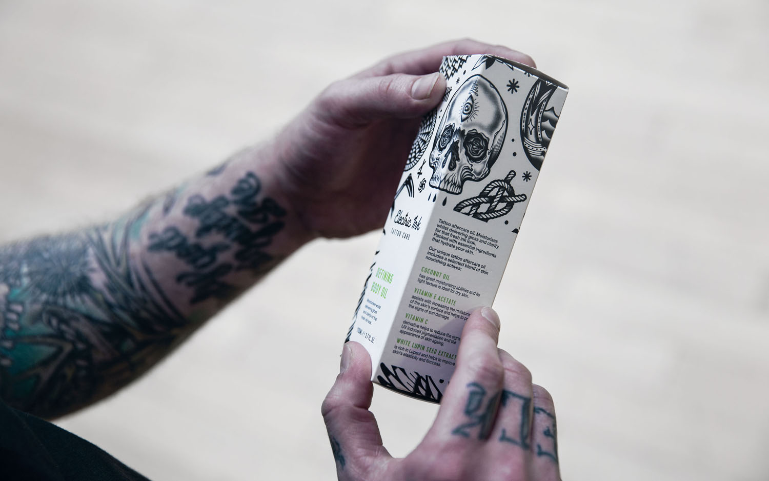 Branding and packaging for tattoo care range Electric Ink by Leeds-based design studio Robot Food.