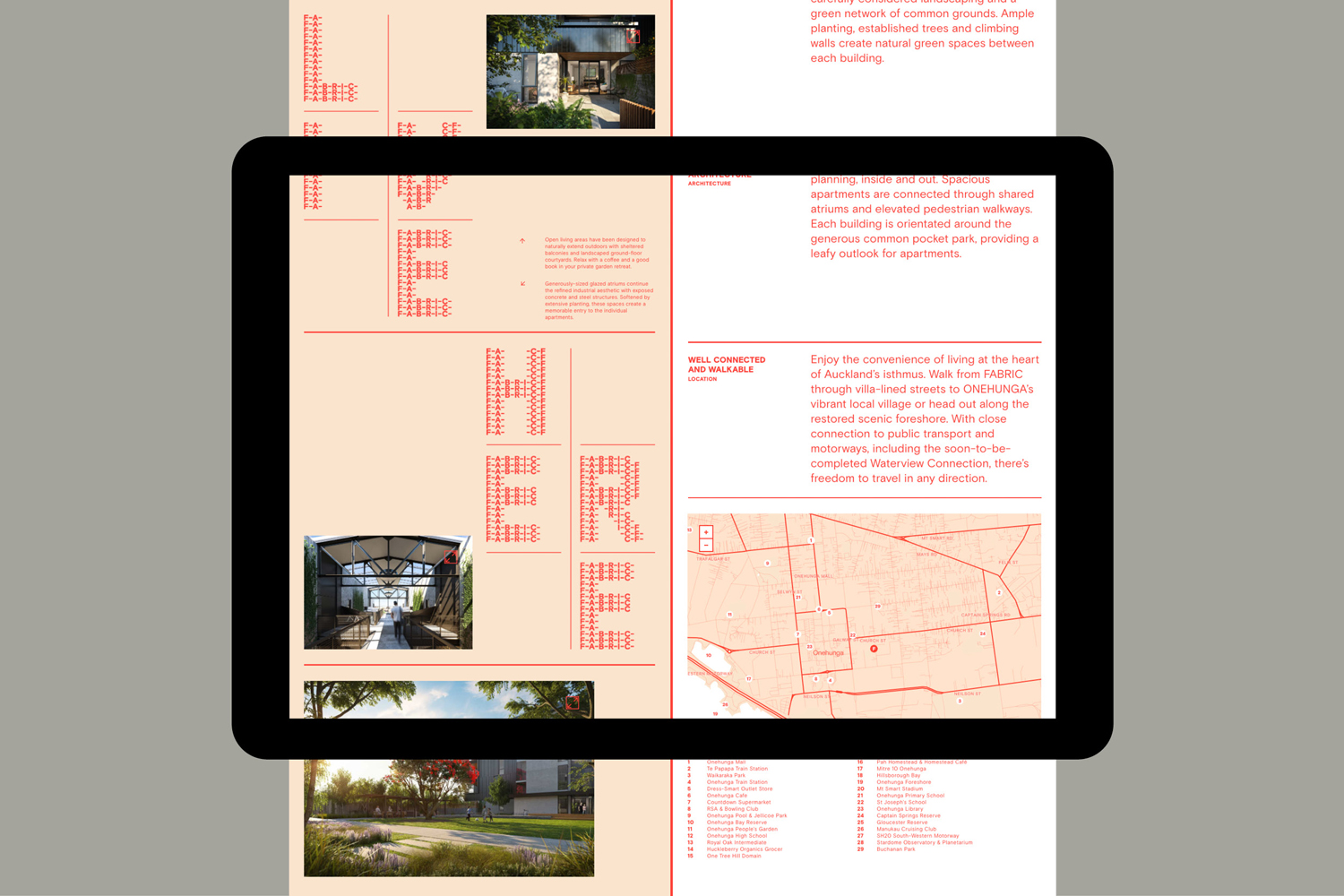 Brand identity and website by Richards Partners for Auckland residential development Fabric of Onehunga