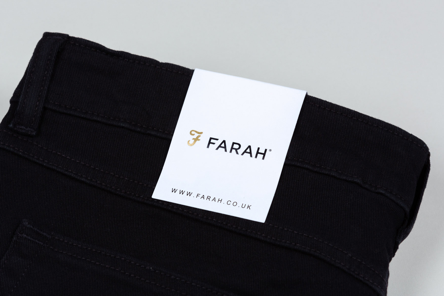 Brand identity and clothing tag for UK men's fashion brand Farah by graphic design studio Post