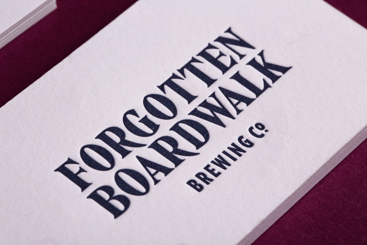 Brand identity and letterpress business cards for Forgotten Boardwalk Brewing by Perky Bros