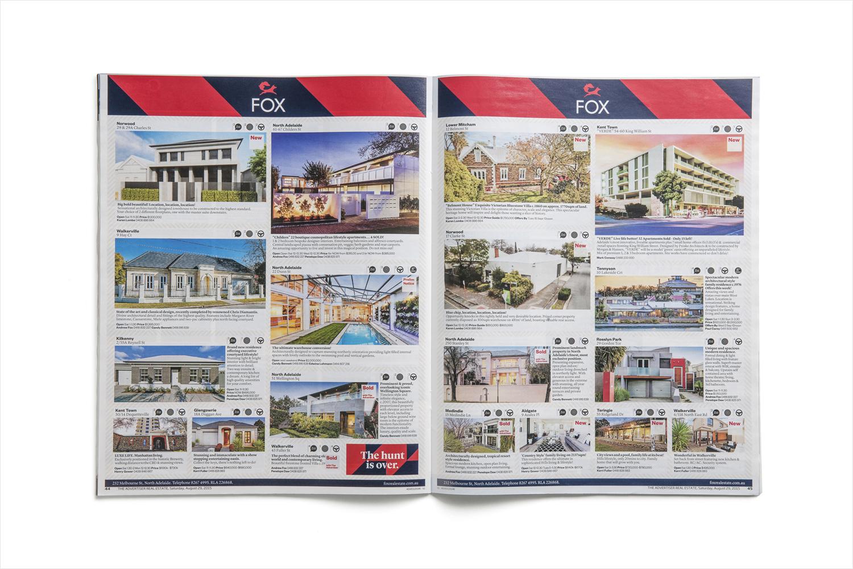 Brand identity and magazine spread for Fox Real Estate by Parallax Design, Australia