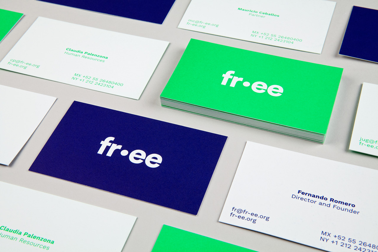 Brand identity and stationery with fluorescent spot colour detail for architectural studio Fr-ee designed by Pentagram Natasha, United States