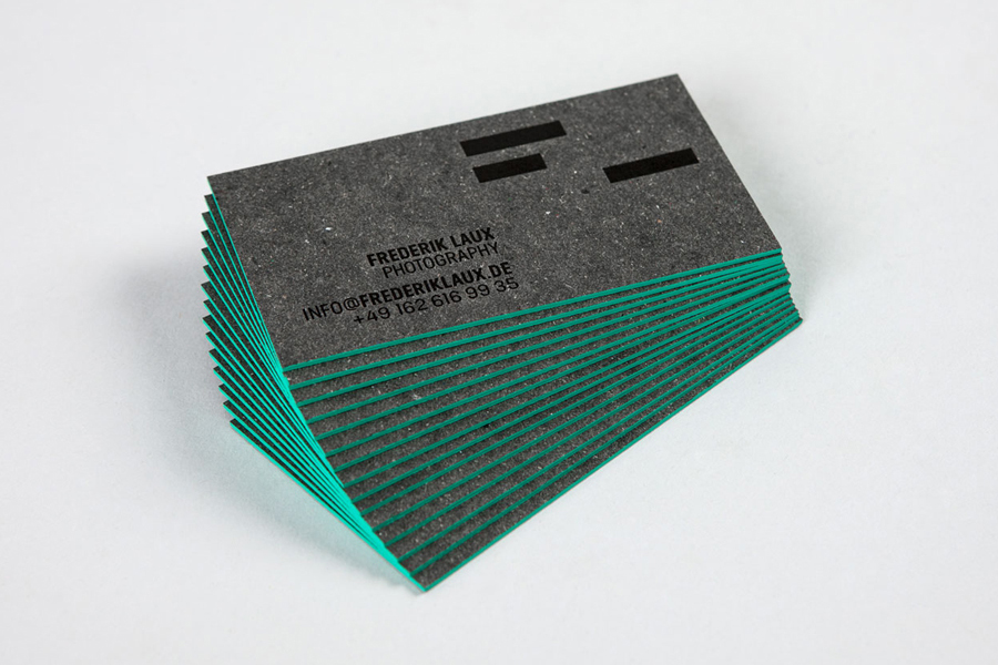 Mixed fibre and edge painted business card for photographer Frederik Laux by LSDK