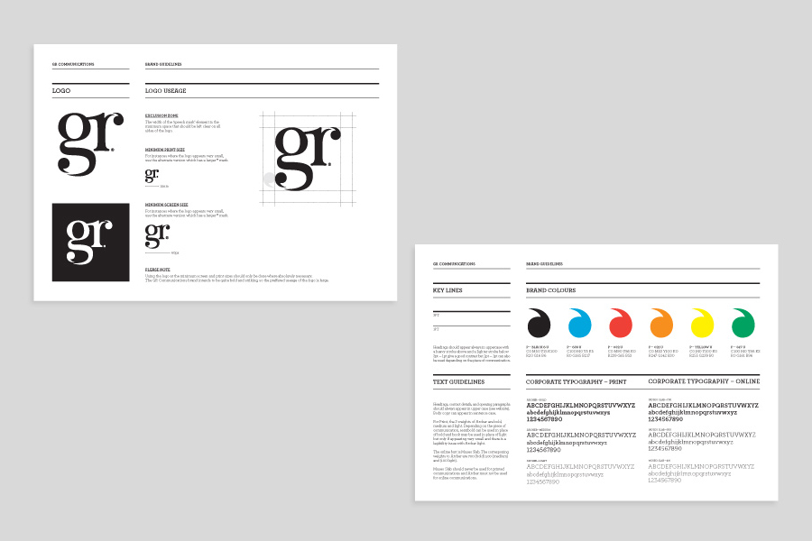 Logo guidelines created by Ascend for PR agency GR Communications