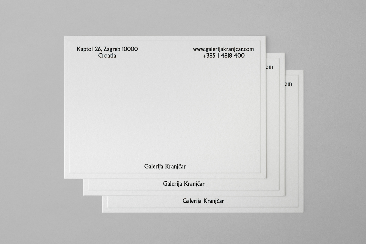 Brand identity and embossed notecards designed by Bunch for Zagreb-based modern art gallery Galerija Kranjčar.
