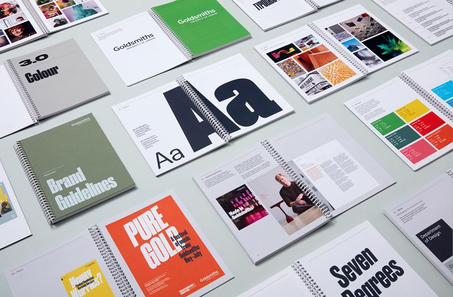 Brand guidelines for Goldsmiths, University of London by UK based graphic design studio Spy