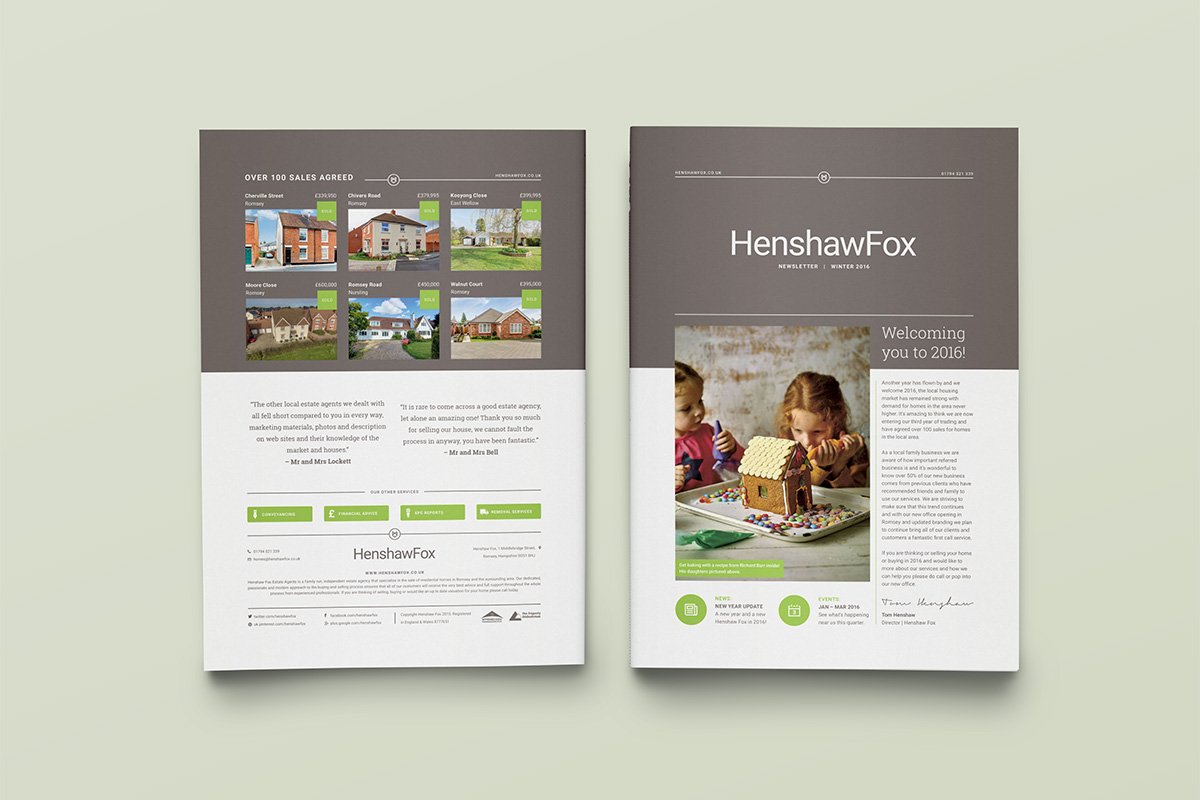 Brand identity and property brochure by graphic design studio Parent for Hampshire estate agent HenshawFox.
