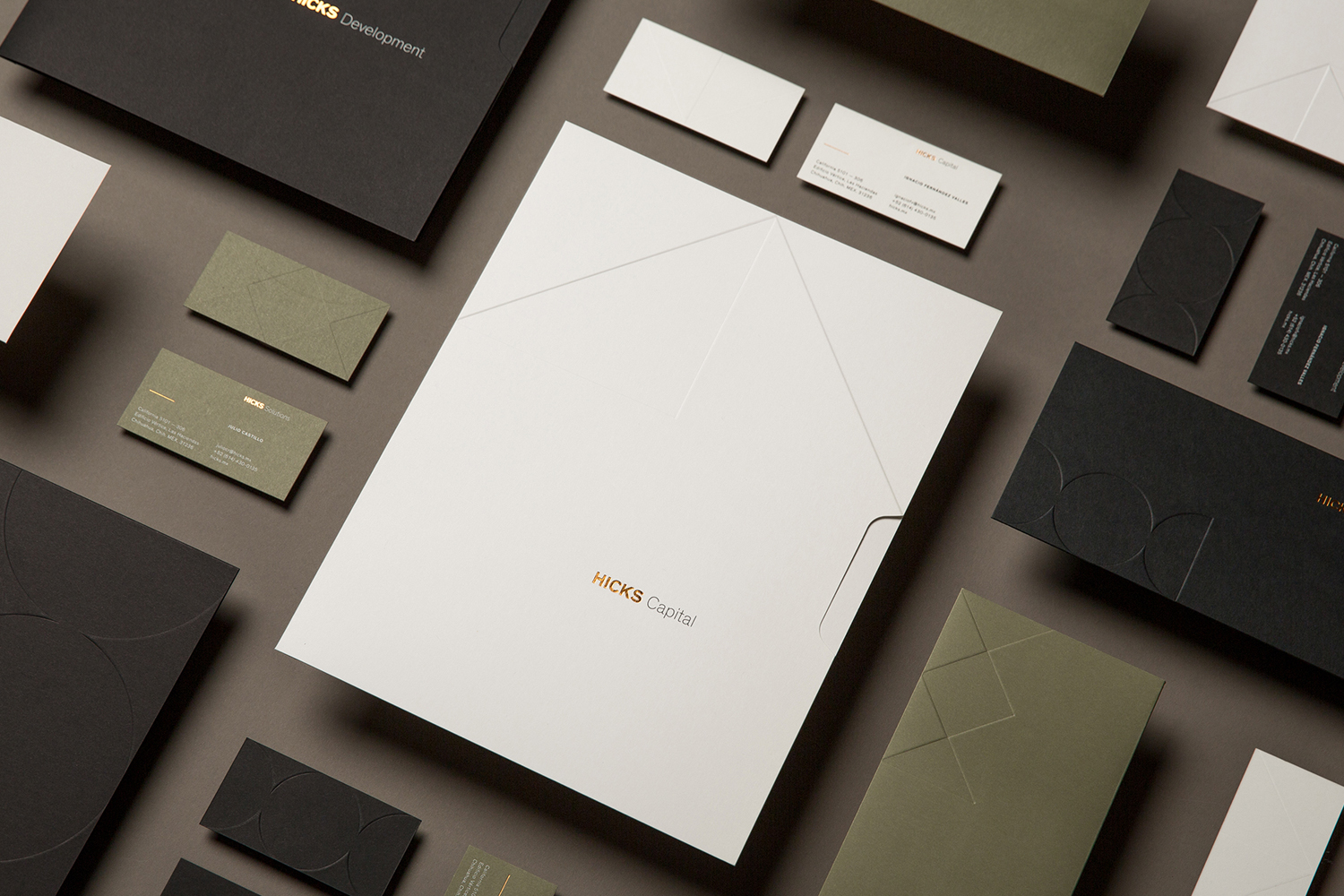 Logo, stationery and business cards with block foil detail designed by Face for Mexican real estate group Hicks.