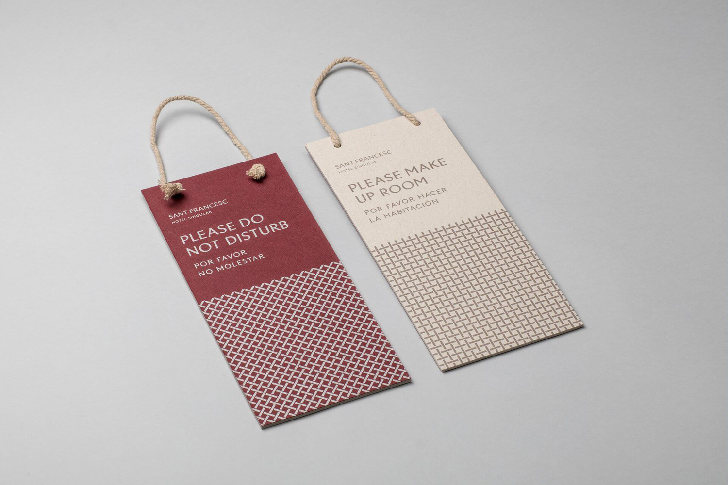 Brand identity and door hangers designed by Mucho for Spanish 5-star hotel Sant Francesc.
