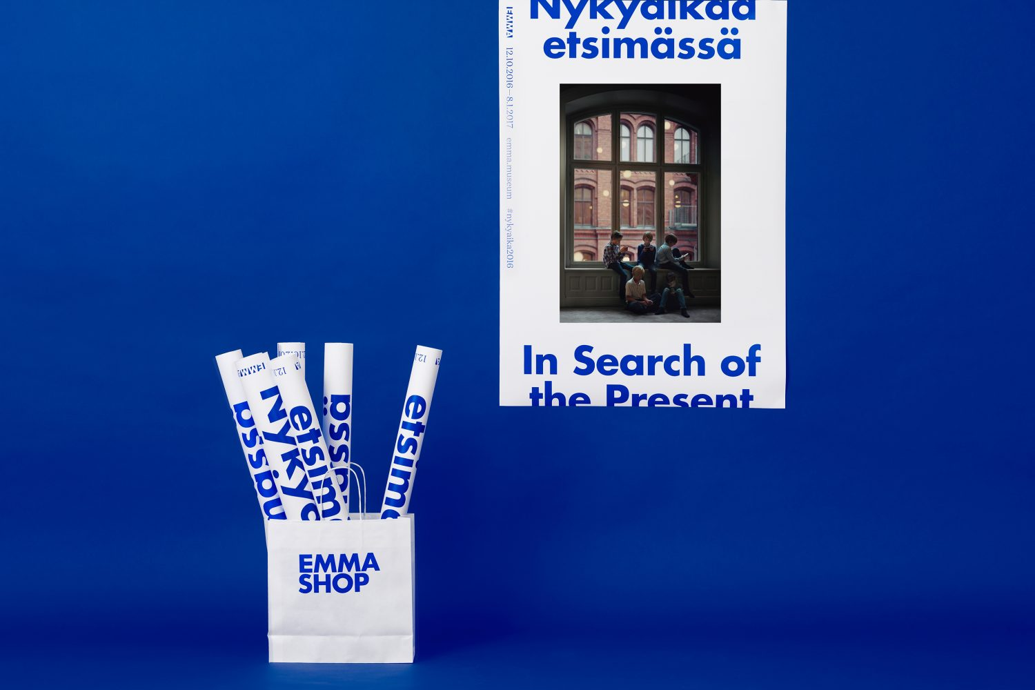 Brand identity and posters designed by Helsinki-based Werklig for EMMA exhibition series In Search Of The Present