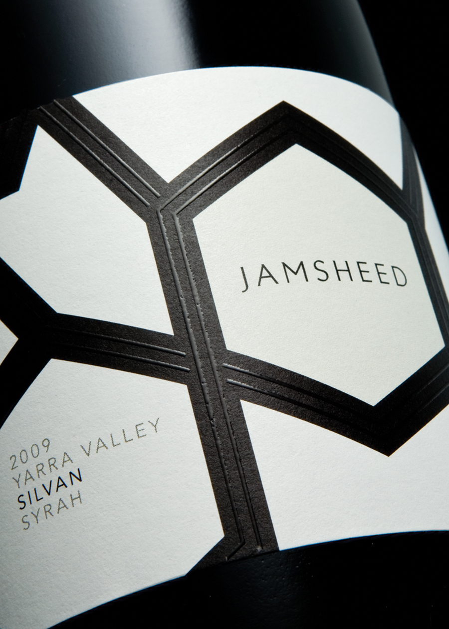 Packaging design with raised thermographic ink detail by Cloudy Co. for Yarra Valley boutique wine label Jamsheed
