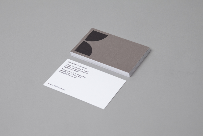 Logo and business card design by Studio Hi Ho for Melbourne-based architecture and interior design firm K2LD