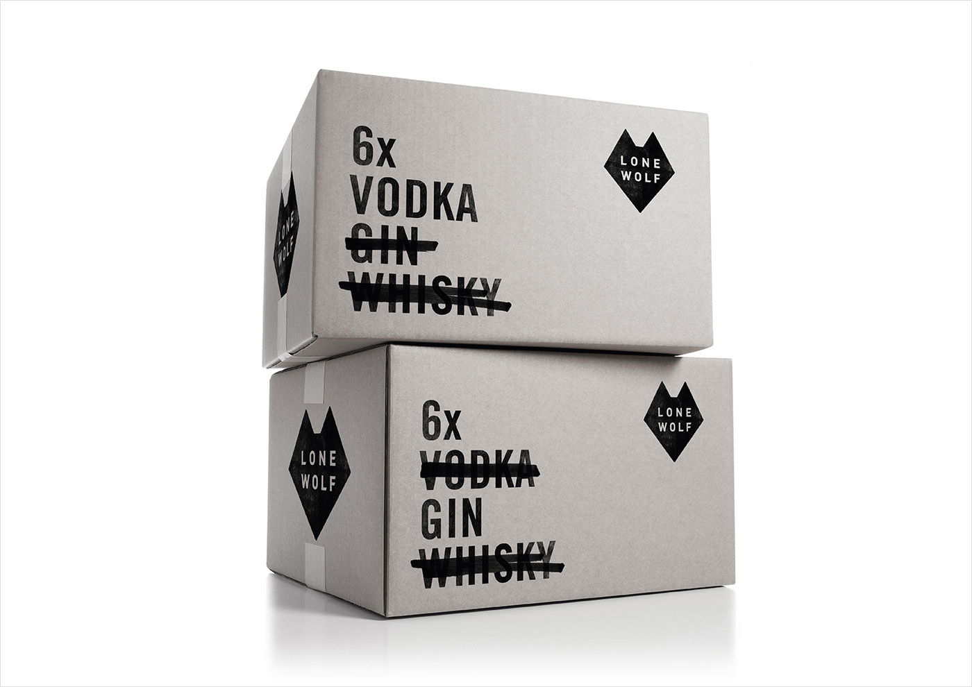 Logo and packaging design by London-based B&B Studio for Brewdog's craft spirits range Lone Wolf