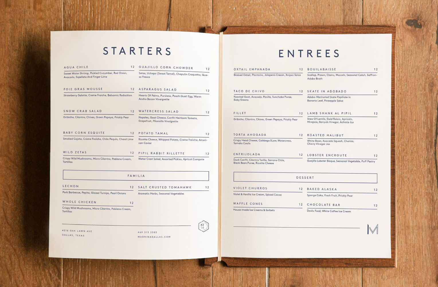 Brand identity and menu spread for French inspired Mexican restaurant Madrina designed by Mast