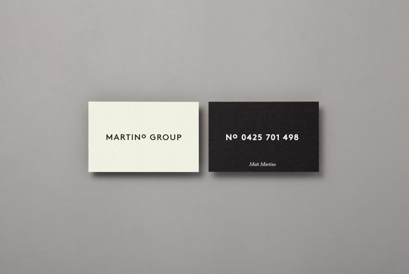 Logo and duplex business card for Australian property developer Martino Group designed by Studio Hi Ho