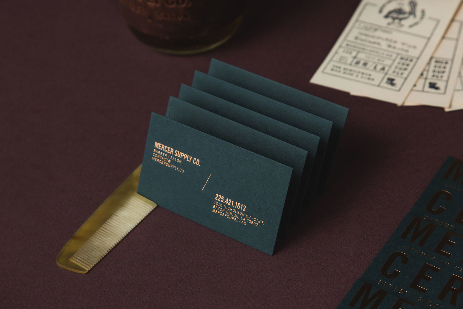 Brand identity for mercer supply co by peck co bpo for Business cards baton rouge